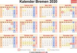 Kalender 2020 Bremen