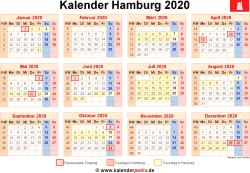 Kalender 2020 Hamburg