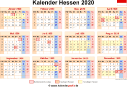 Kalender 2020 Hessen