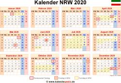 Kalender 2020 NRW