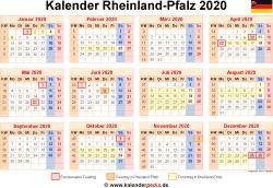 Kalender 2020 Rheinland-Pfalz