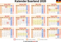 Kalender 2020 Saarland