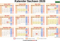 Kalender 2020 Sachsen