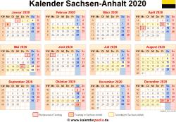Kalender 2020 Sachsen-Anhalt
