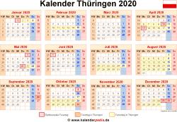 Kalender 2020 Thüringen