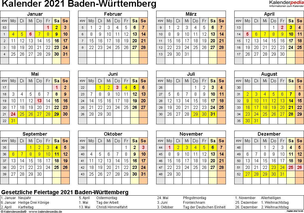 Vorlage 4: Kalender 2021 für Baden-Württemberg als Excel-Vorlagen (Querformat, 1 Seite, Jahresübersicht)