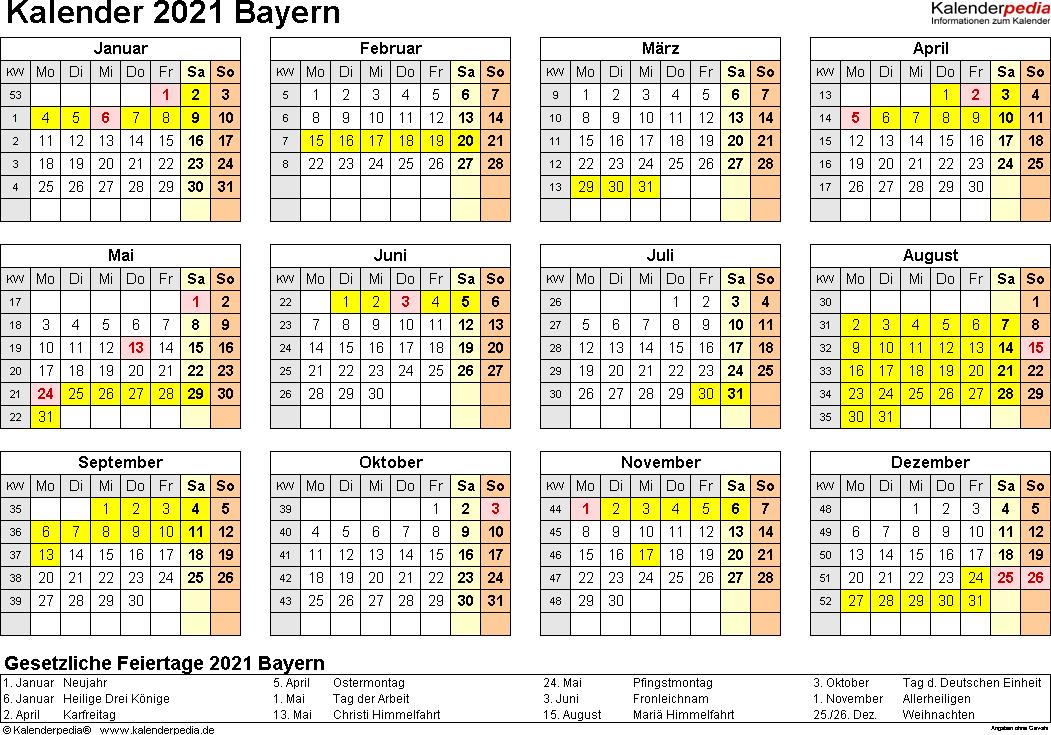 Vorlage 4: Kalender 2021 für Bayern als Excel-Vorlagen (Querformat, 1 Seite, Jahresübersicht)