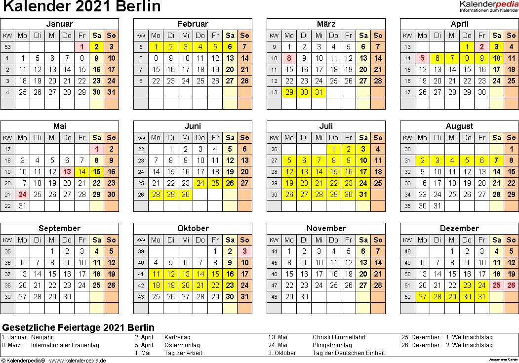 Vorlage 4: Kalender 2021 für Berlin als Excel-Vorlagen (Querformat, 1 Seite, Jahresübersicht)