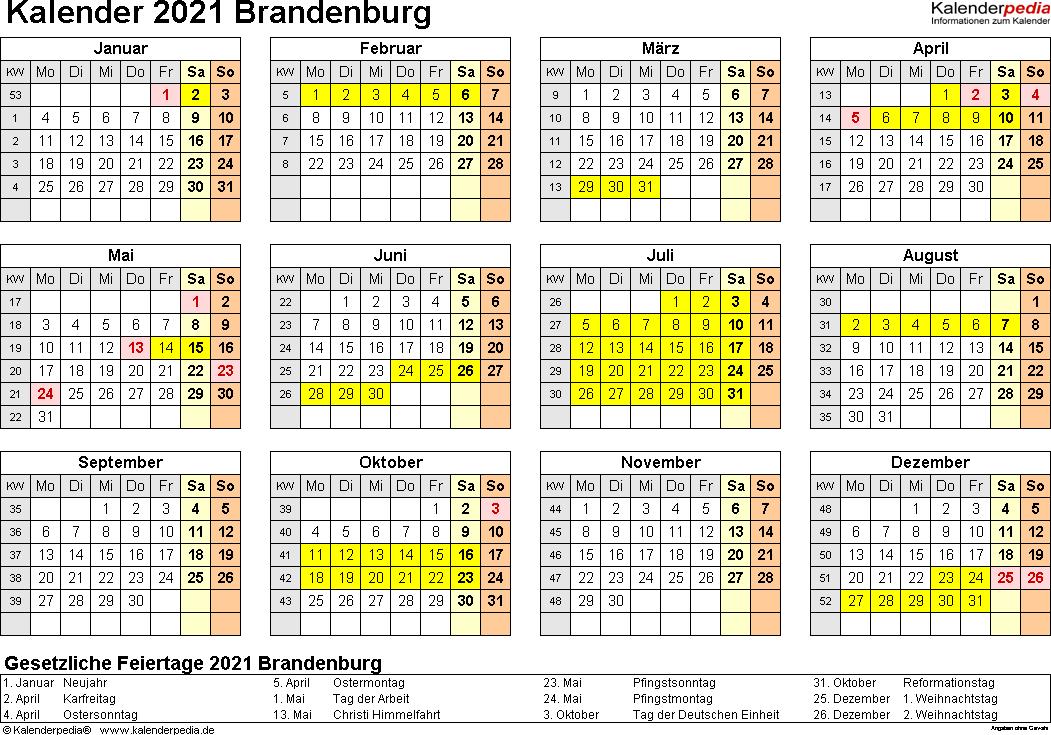 Vorlage 4: Kalender 2021 für Brandenburg als Excel-Vorlagen (Querformat, 1 Seite, Jahresübersicht)