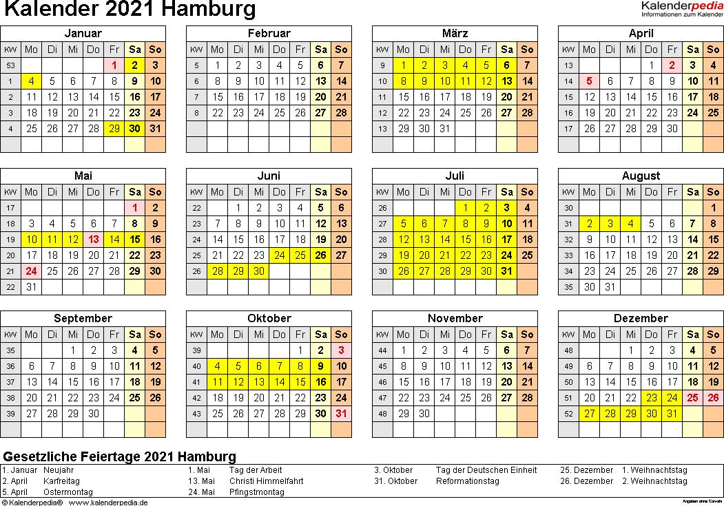 Vorlage 4: Kalender 2021 für Hamburg als PDF-Vorlagen (Querformat, 1 Seite, Jahresübersicht)