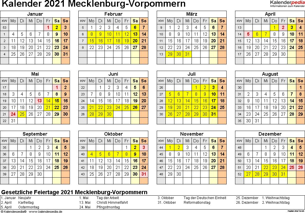 Vorlage 4: Kalender 2021 für Mecklenburg-Vorpommern als PDF-Vorlagen (Querformat, 1 Seite, Jahresübersicht)