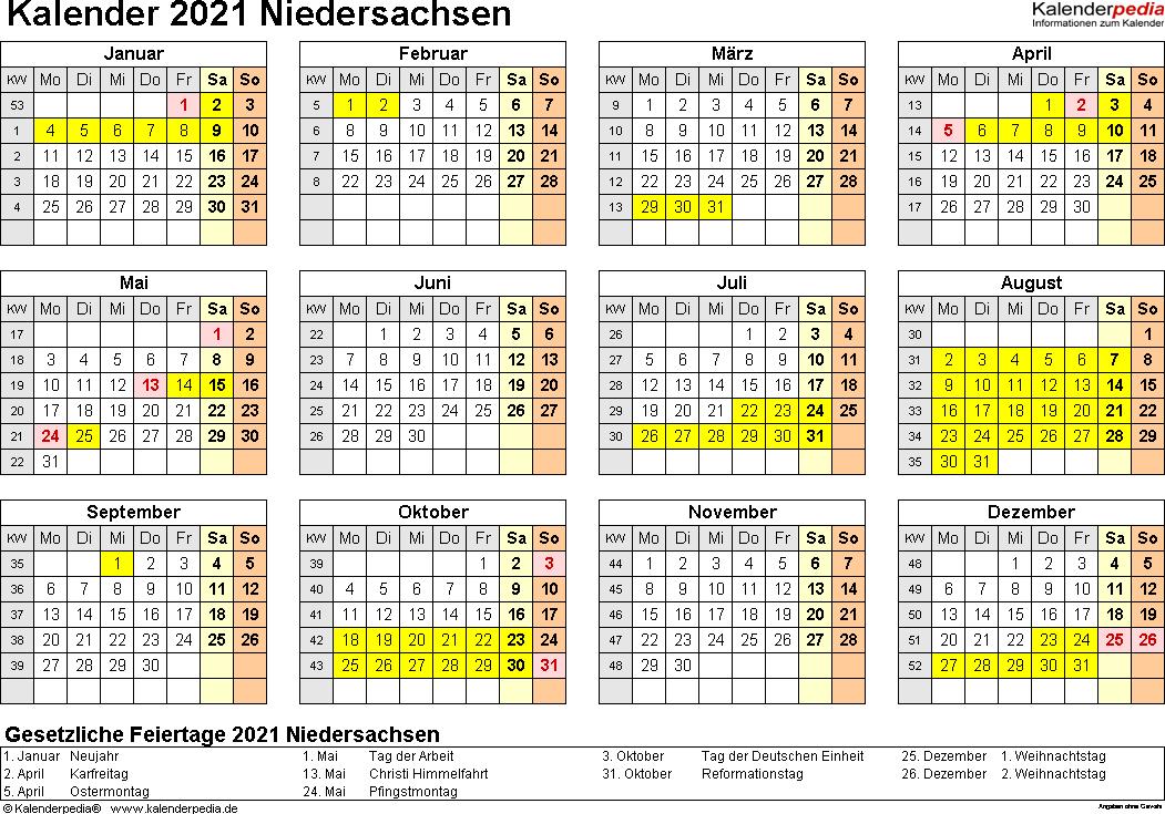 Vorlage 4: Kalender 2021 für Niedersachsen als PDF-Vorlagen (Querformat, 1 Seite, Jahresübersicht)
