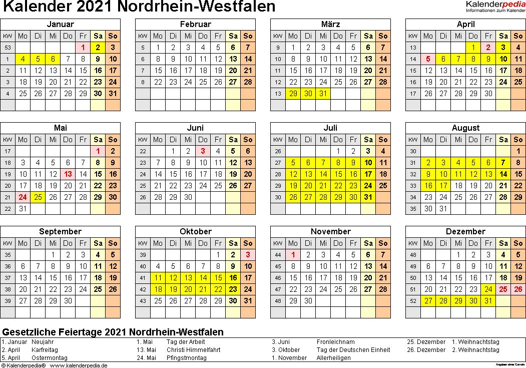 Vorlage 4: Kalender 2021 für Nordrhein-Westfalen (NRW) als Word-Vorlagen (Querformat, 1 Seite, Jahresübersicht)