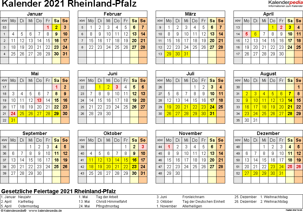 Vorlage 4: Kalender 2021 für Rheinland-Pfalz als Excel-Vorlagen (Querformat, 1 Seite, Jahresübersicht)