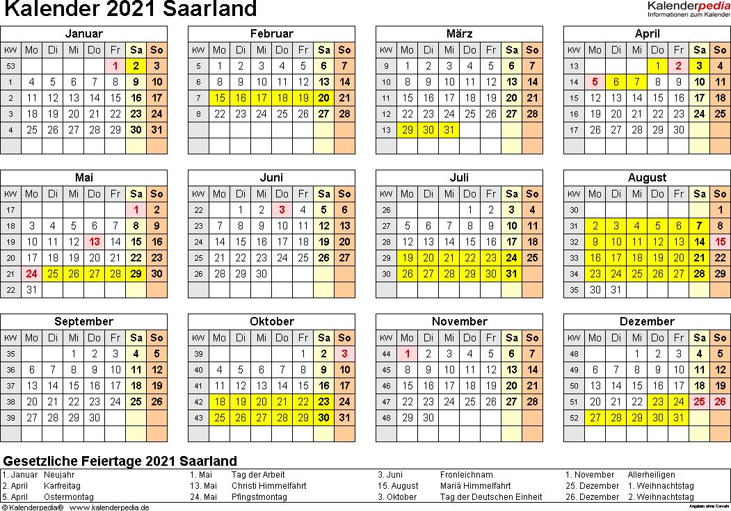 Vorlage 4: Kalender 2021 für Saarland als Word-Vorlagen (Querformat, 1 Seite, Jahresübersicht)