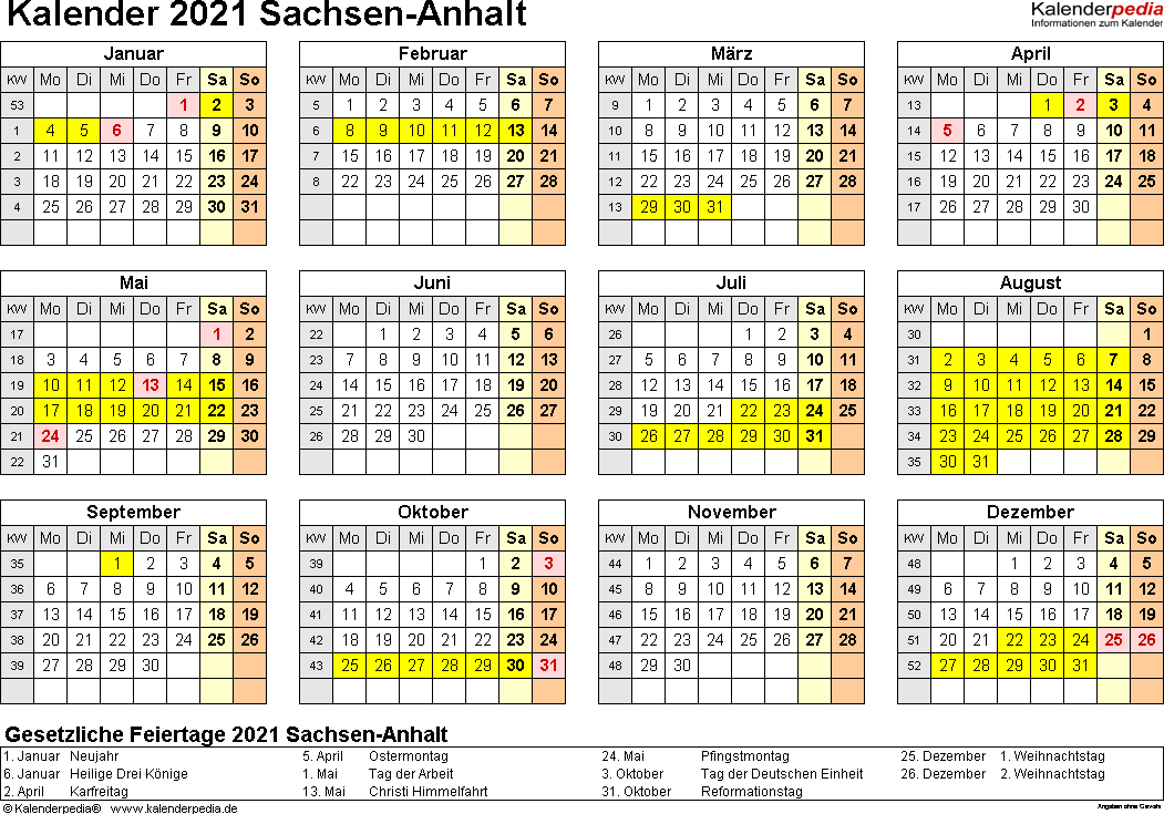 Vorlage 4: Kalender 2021 für Sachsen-Anhalt als Word-Vorlagen (Querformat, 1 Seite, Jahresübersicht)