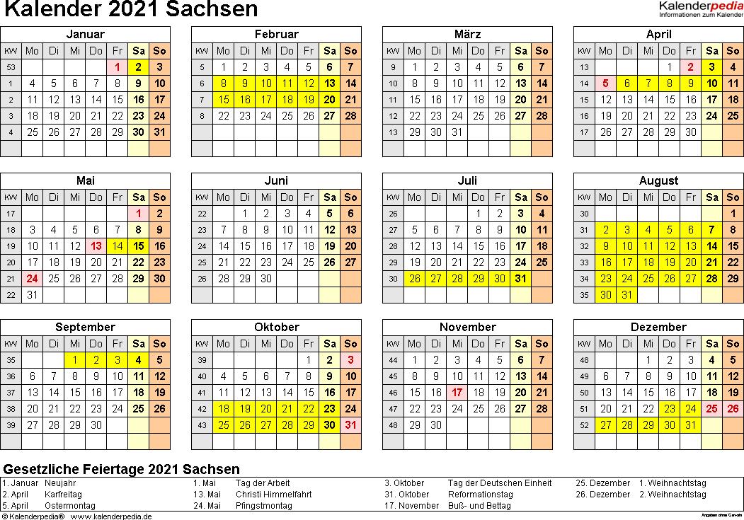 Vorlage 4: Kalender 2021 für Sachsen als Word-Vorlagen (Querformat, 1 Seite, Jahresübersicht)