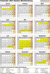 Vorlage 8: Kalender Baden-Württemberg 2021 als Excel-Vorlage (Hochformat)