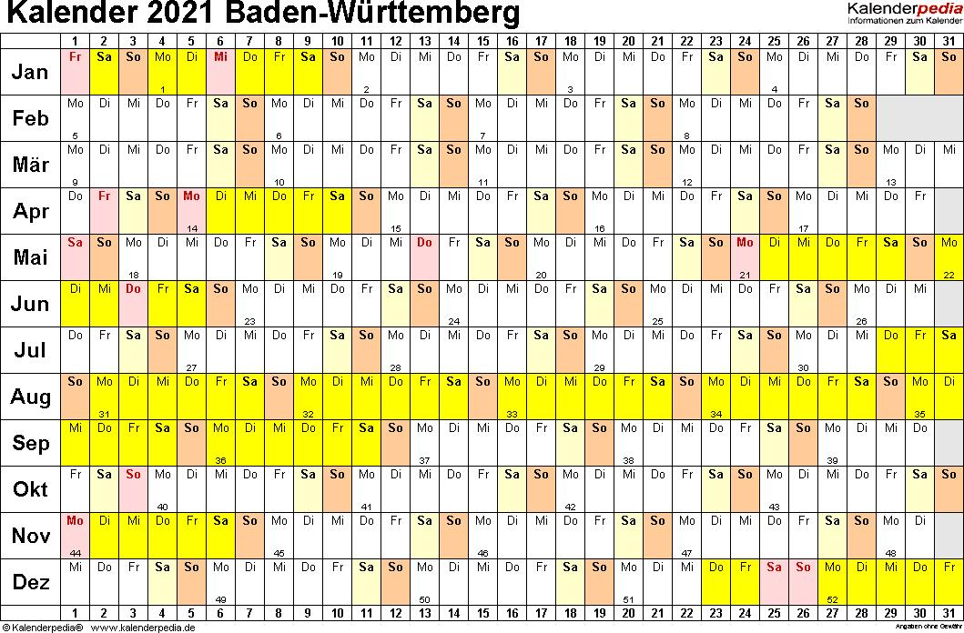 Vorlage 3: Kalender Baden-Württemberg 2021 im Querformat, Tage nebeneinander