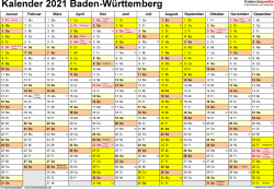 Vorlage 1: Kalender 2021 für Baden-Württemberg als Excel-Vorlagen (Querformat, 1 Seite)