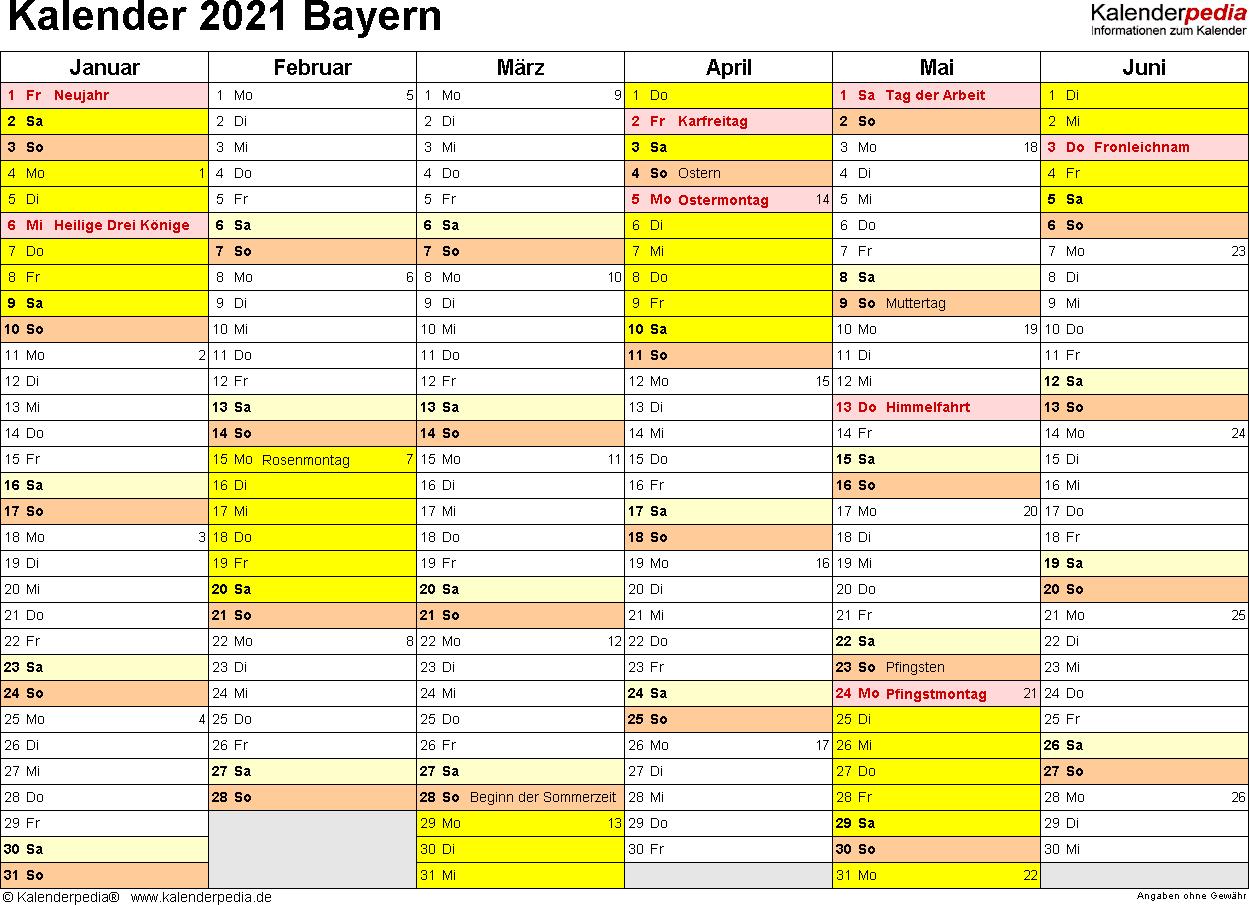Vorlage 3: Kalender 2021 für Bayern als Excel-Vorlagen (Querformat, 2 Seiten)
