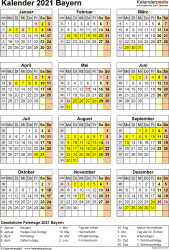 Vorlage 8: Kalender Bayern 2021 als Excel-Vorlage (Hochformat)