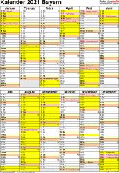 Vorlage 6: Kalender Bayern 2021 als Excel-Vorlage (Hochformat)