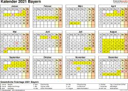 Vorlage 4: Kalender 2021 für Bayern als PDF-Vorlage (Querformat, 1 Seite, Jahresübersicht)