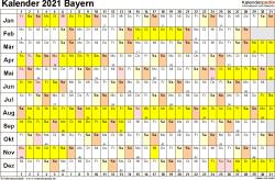 Vorlage 3: Kalender Bayern 2021 im Querformat, Tage nebeneinander