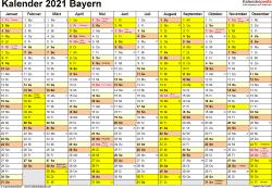 Vorlage 1: Kalender 2021 für Bayern als PDF-Vorlage (Querformat, 1 Seite)
