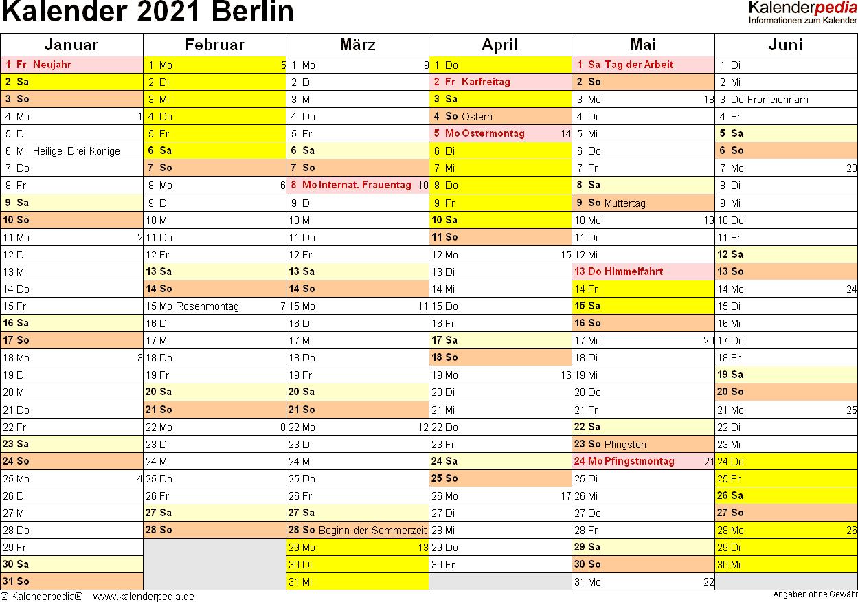 Vorlage 3: Kalender 2021 für Berlin als Excel-Vorlagen (Querformat, 2 Seiten)