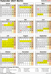 Vorlage 4: Kalender Berlin 2021 als Excel-Vorlage (Hochformat)