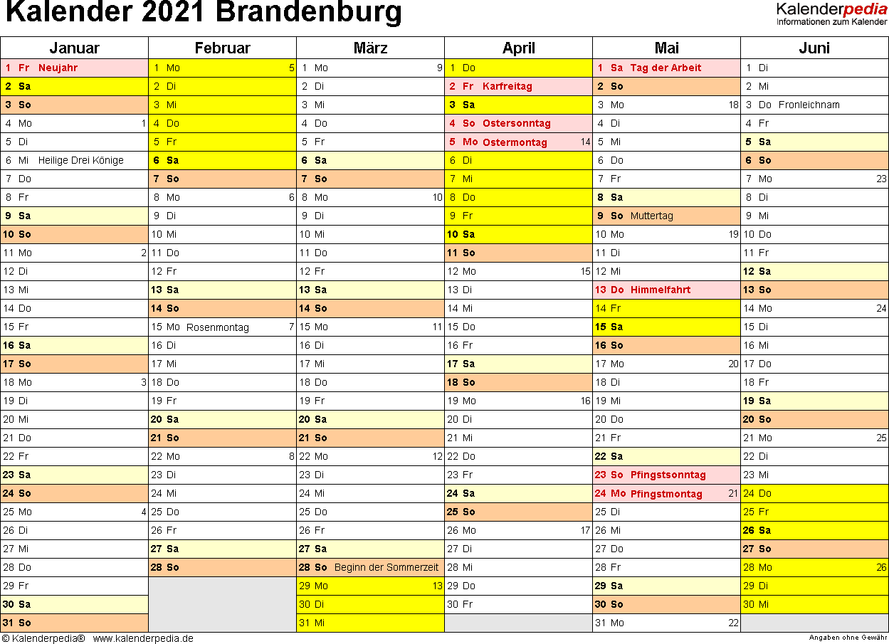 Vorlage 2: Kalender 2021 für Brandenburg als Excel-Vorlagen (Querformat, 2 Seiten)