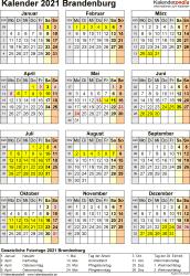 Vorlage 8: Kalender Brandenburg 2021 als Excel-Vorlage (Hochformat)