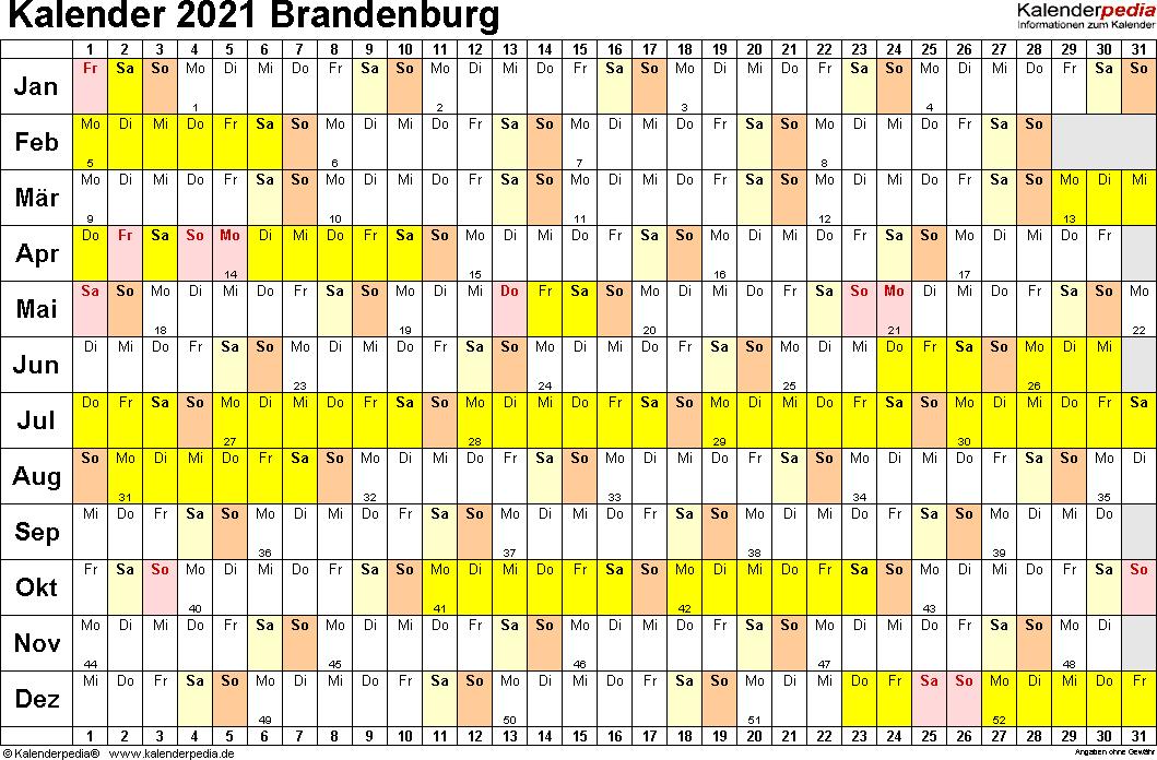 Vorlage 2: Kalender Brandenburg 2021 im Querformat, Tage nebeneinander
