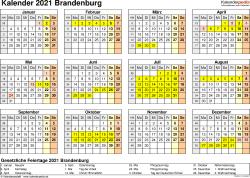 Vorlage 4: Kalender 2021 für Brandenburg als Word-Vorlage (Querformat, 1 Seite, Jahresübersicht)