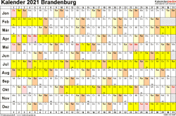 Vorlage 3: Kalender Brandenburg 2021 im Querformat, Tage nebeneinander
