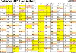 Vorlage 1: Kalender 2021 für Brandenburg als Excel-Vorlagen (Querformat, 1 Seite)