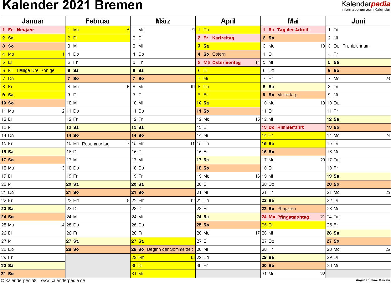 Vorlage 2: Kalender 2021 für Bremen als Excel-Vorlagen (Querformat, 2 Seiten)
