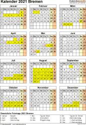 Vorlage 8: Kalender Bremen 2021 als Excel-Vorlage (Hochformat)