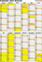 Vorlage 6: Kalender Bremen 2021 als Excel-Vorlage (Hochformat)