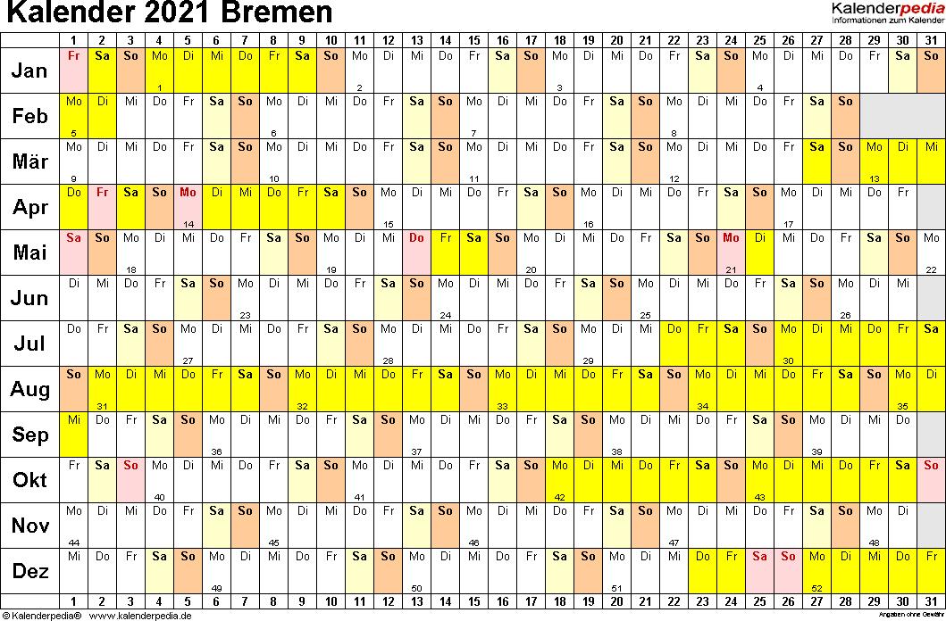 Vorlage 3: Kalender Bremen 2021 im Querformat, Tage nebeneinander