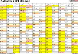 Vorlage 1: Kalender 2021 für Bremen als Excel-Vorlagen (Querformat, 1 Seite)