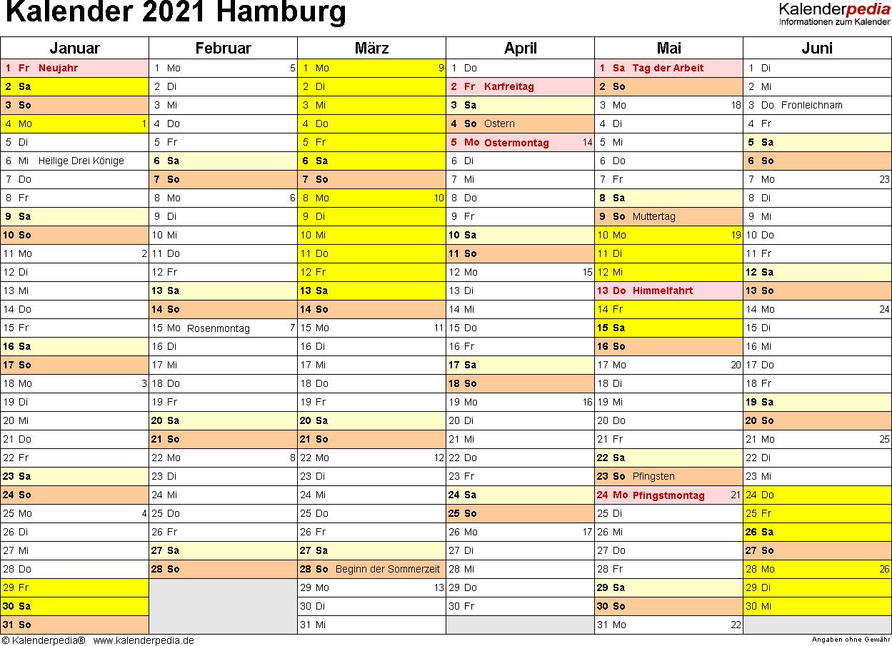 Vorlage 3: Kalender 2021 für Hamburg als Excel-Vorlagen (Querformat, 2 Seiten)