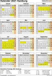 Vorlage 4: Kalender Hamburg 2021 als Excel-Vorlage (Hochformat)