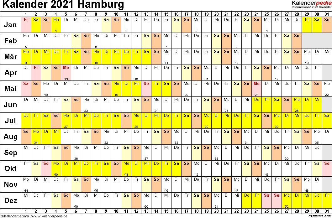 Vorlage 2: Kalender Hamburg 2021 im Querformat, Tage nebeneinander