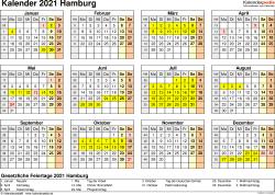 Vorlage 4: Kalender 2021 für Hamburg als PDF-Vorlage (Querformat, 1 Seite, Jahresübersicht)