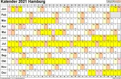 Vorlage 3: Kalender Hamburg 2021 im Querformat, Tage nebeneinander
