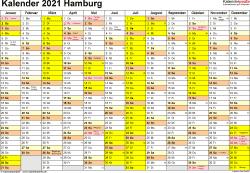 Vorlage 1: Kalender 2021 für Hamburg als Word-Vorlage (Querformat, 1 Seite)