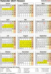 Vorlage 8: Kalender Hessen 2021 als Excel-Vorlage (Hochformat)